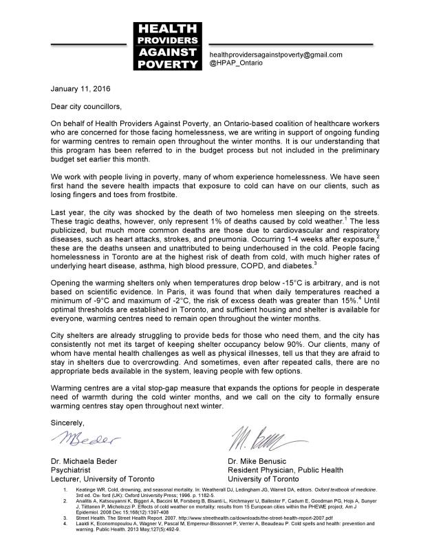 Letter to Toronto Councillors on Warming Centres Jan 11 2016.jpg
